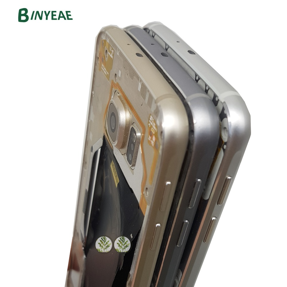 BINYEAE Middle Frame Bezel Chassis Housing+Camera Lens For Samsung Galaxy S6 G920 G920F G920I G920W8 G920A G920T G920P G920R4