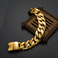 Luxury Golden Gold Color Chunky Chain Man Bracelet Miami Cuban Curb Chain Mens Bracelets For Men Indian Jewelry Gifts