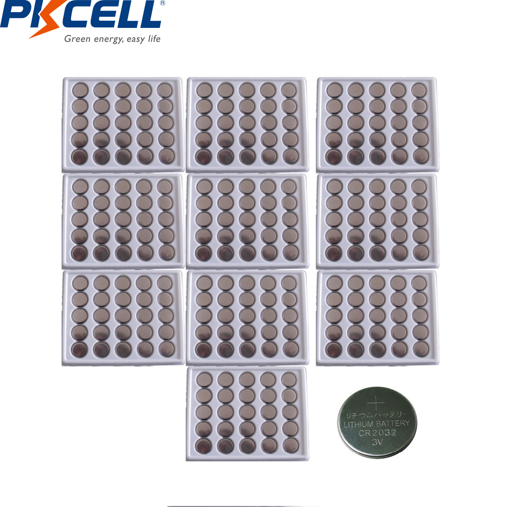250Pcs PKCELL CR2032 3V Lithium Button Cell Coin <font><b>Batteries</b></font> 210mAh DL2032 <font><b>2032</b></font> KCR2032 5004L For Smart Watch Calculator image