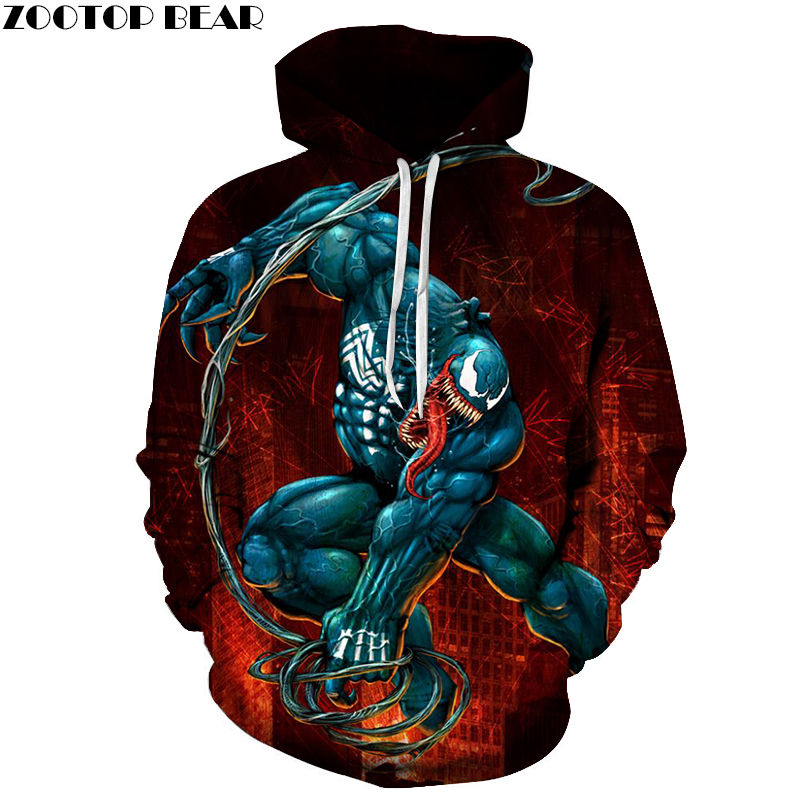 Venom Movie Horror Coat Men Hoody 3D Print Game Spring Sweatshirts Drop Ship Tops Pullover Sleeves Casual Tracksuits ZOOTOP BEAR