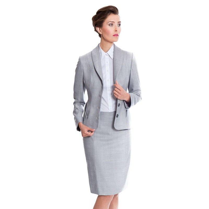 Ladies Rok Setelan Cahaya Abu abu Bisnis Formal Pakaian Kerja Setelan Jas  Bisnis Resmi Desain Seragam Kantor Wanita Prom Suit di Pant Setelan dari  Pakaian ... 0e73ff621a