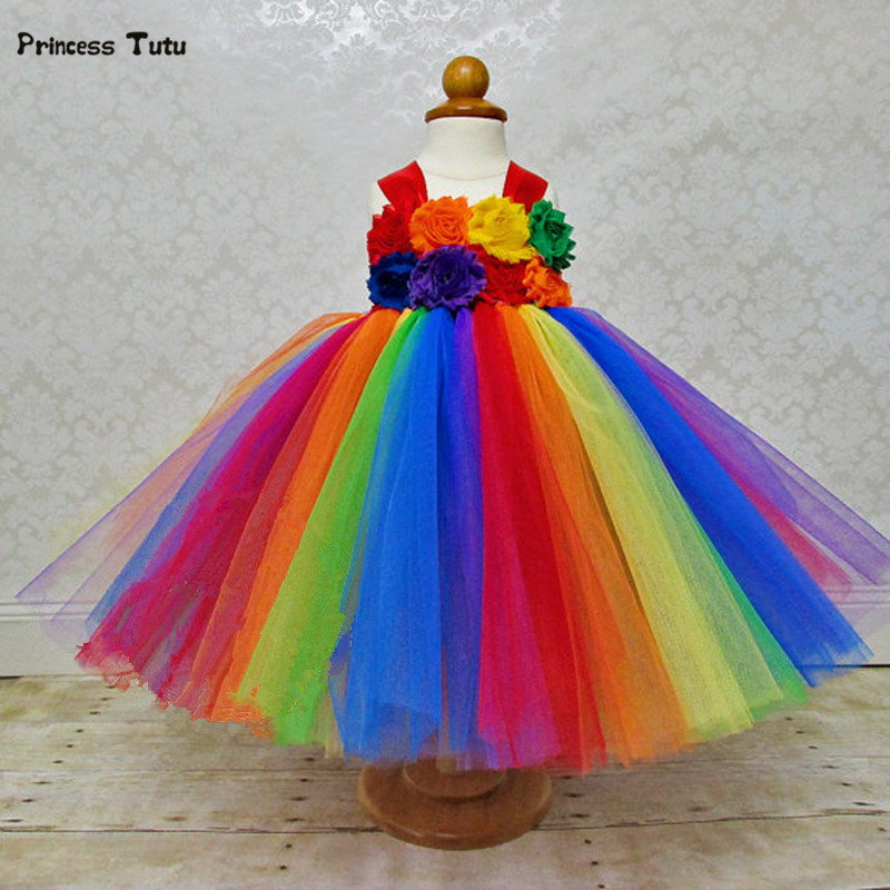 Colorful Flower Girls Tulle Tutu Dress Kids Princess Costume Rainbow Tutu Infant Girl Party Christmas Halloween Birthday Dresses fancy girl mermai ariel dress pink princess tutu dress baby girl birthday party tulle dresses kids cosplay halloween costume