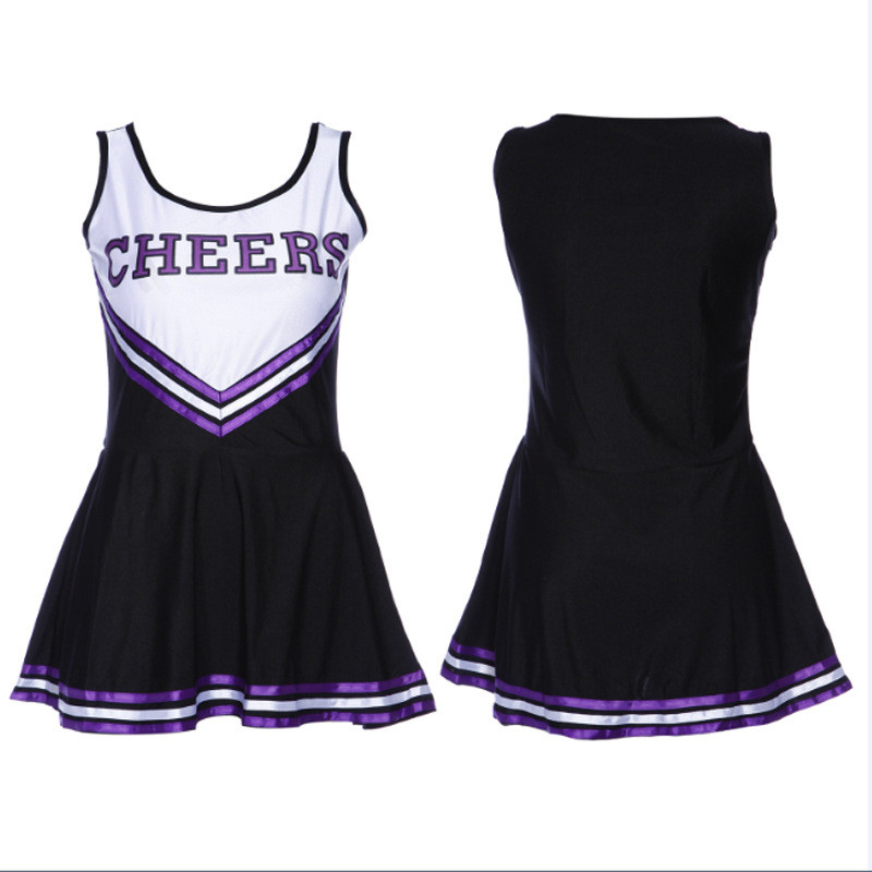 Women's Cheerleader Dress Sports Uniform Cheer Leader Costume Fancy Dress With Pom Poms School Girls Musical Party Gym Clothes