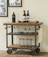 American country style furniture industry LOFT /recycling old fir furniture antique wooden bar cart kitchen cart with wheel