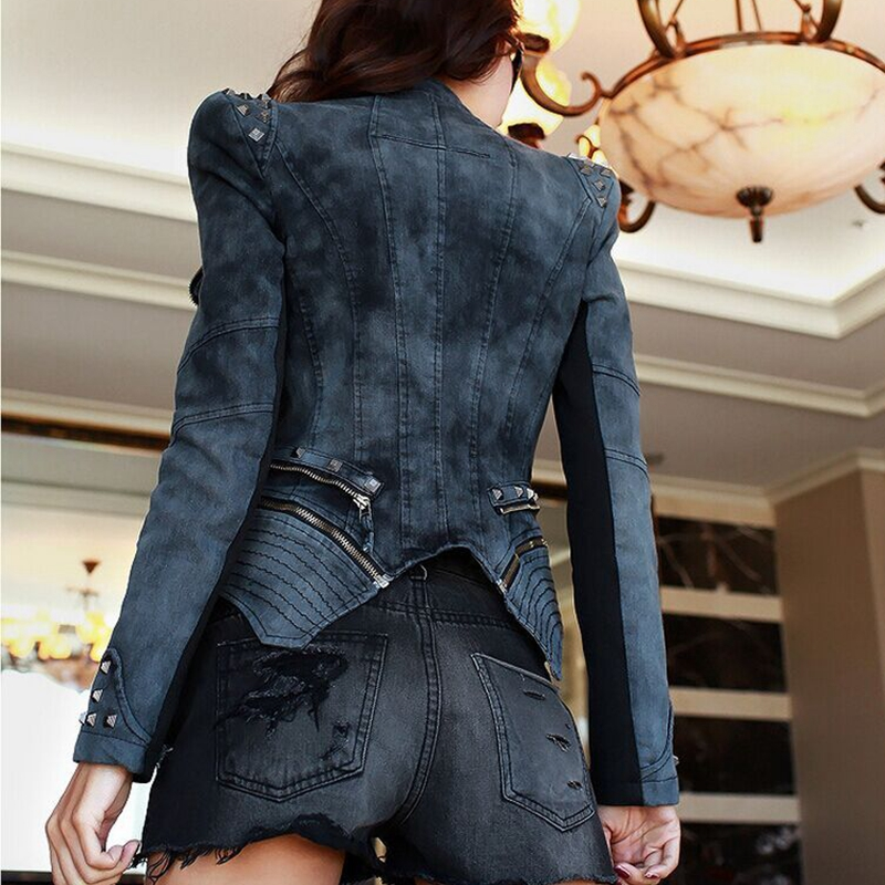 green Rivets Moto Denim Zipper Pour Al26 Veste Black Slim Vêtements Manteaux 2019 Vestes Femmes Tnlnzhyn Court Printemps xFIqwSanX