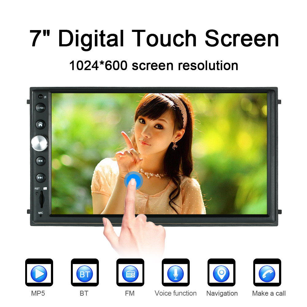 7'' 2 Din Touch Screen Car Stereo Radio Player  Multimedia Entertainment System BT AM/FM For Android/Iphone With Rearview Camera