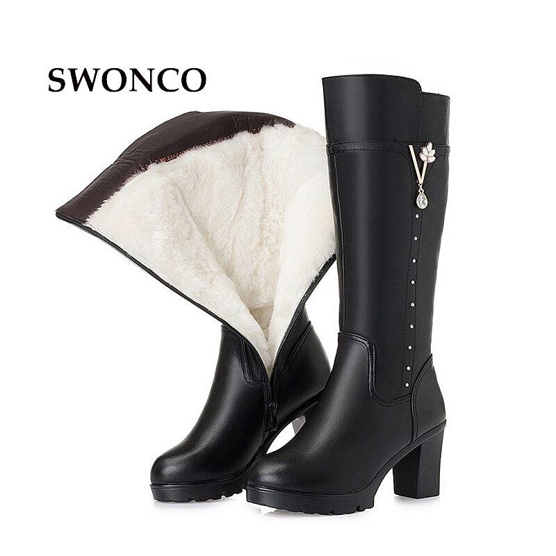 SWONCO Women High Boot Fur Wool Genuine Leather Fashion Rhinestone Knee-high Winter Boots Women Boots High Heels Platform Boot цена