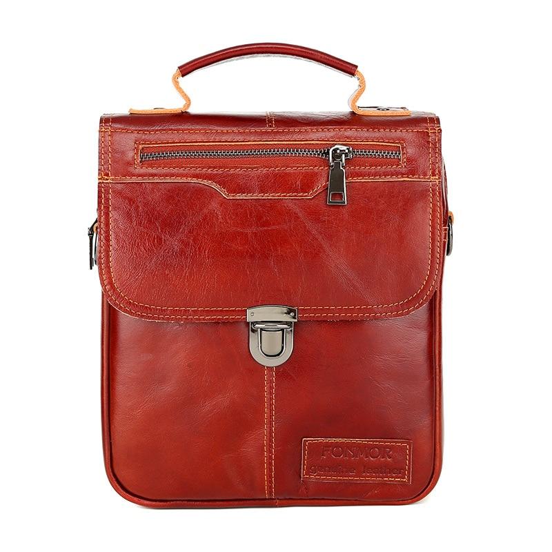 Men Genuine Leather Vintage Buckle Shoulder Bag Satchel Crossbody Bag MUG88