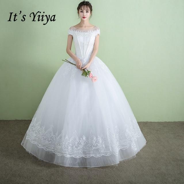 Es ist YiiYa Off White Sleeveless Heißer Boot ausschnitt Hochzeit ...