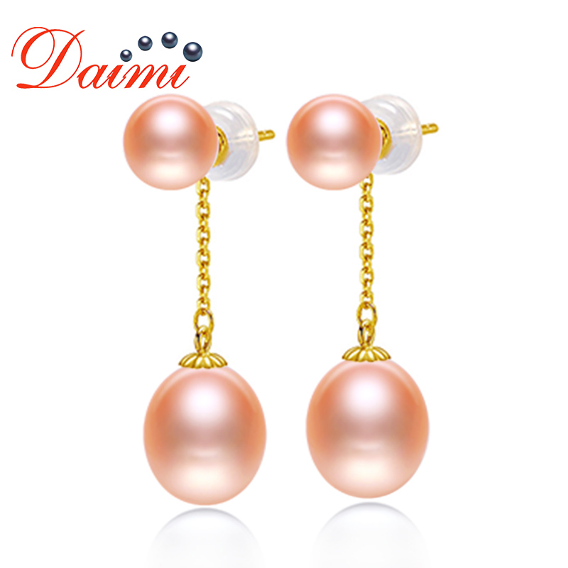 DAIMI 7 8mm Freshwater Pearl With About 9mm Tear Drop Pearl Dangle Earrings 18K Gold Drop