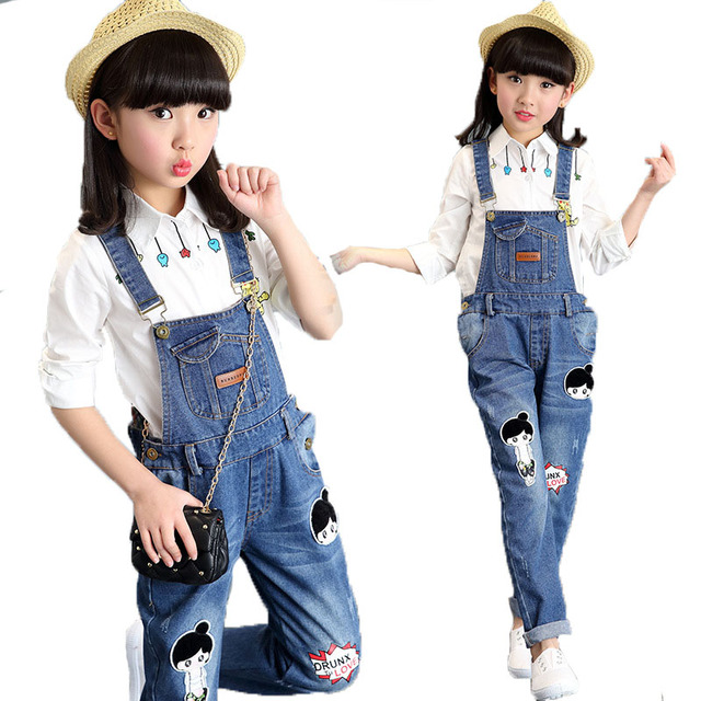 66d98e84a36f 2018 Girls Denim Jumpsuit Cotton Cartoon Kids Bibs Casual Pants Infants  Jeans Overalls Fall Children Clothing