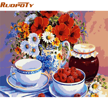 RUOPOTY Picture Flower Fruits DIY Painting By Numbers Kits Acrylic Paint By Numbers Modern Wall Art Canvas Painting For Gift