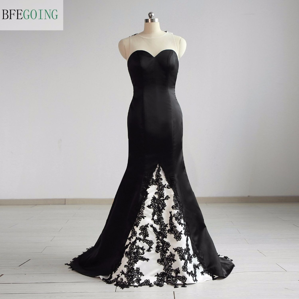 Black Satin Sleeveless   Mermaid/Trumpet Mother Of The Bride Dresses Floor-Length Court Train  Real/Original Photos