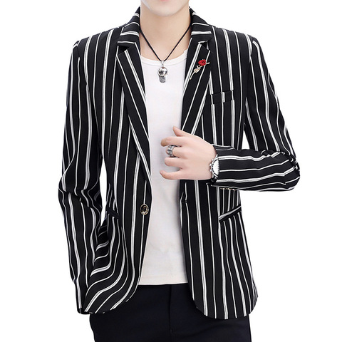 Zogaa 2019 New Spring Mens Blazer Fashion Slim Fit Business  Smart Casual Stripe Suits & Blazers Veste Costume Homme Multan