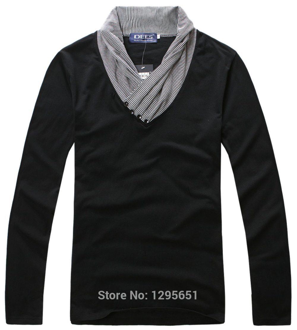 Design t shirt collar -  Unique Strip Collar Design Men Casual Cotton T Shirt Red Black 2 Colors Men Base