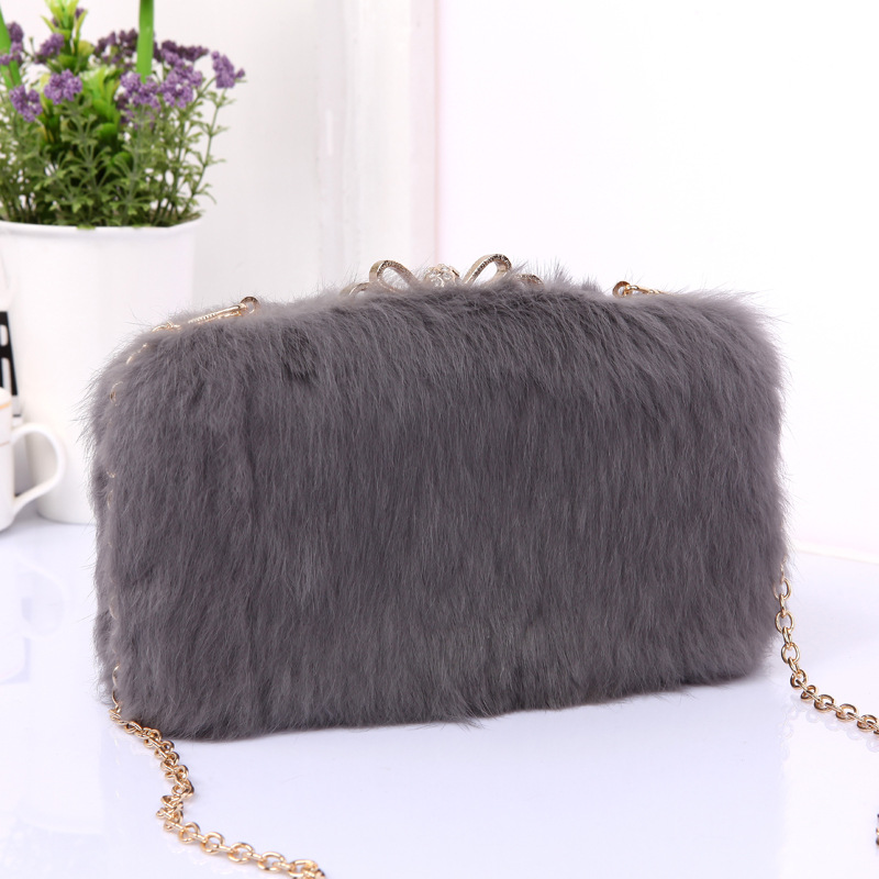 Womens dinner wrapped in summer 2018 new fashion luxury fur, rabbit hair, hand bag, sing ...