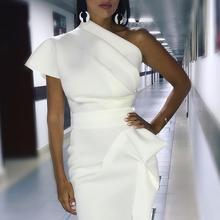 فستان مناسبات أنيق بكتف واحد بلون راقي موديل 2019