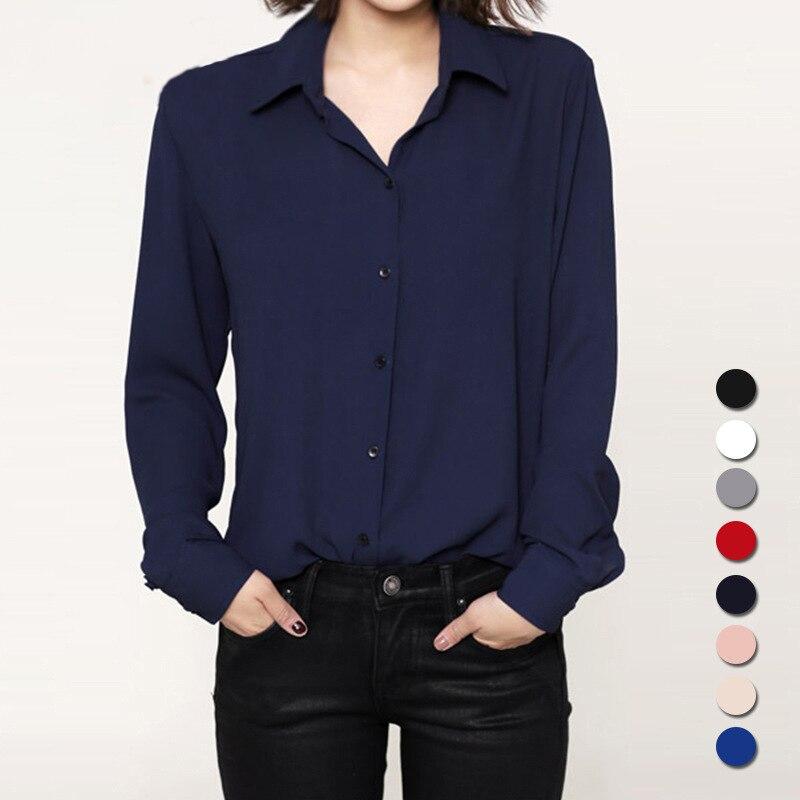 أزياء 2018 المرأة عارضة قمم قميص طويل الأكمام الشيفون بلوزة بسيطة ربيع الخريف المرأة زائد حجم blusas قميص فام