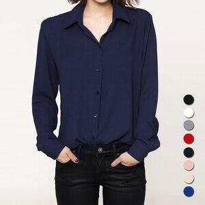Fashion 2018 Women casual tops Long Sleeve Chiffon Shirt Blouse Simple spring autumn women's plus size blusas chemise femme