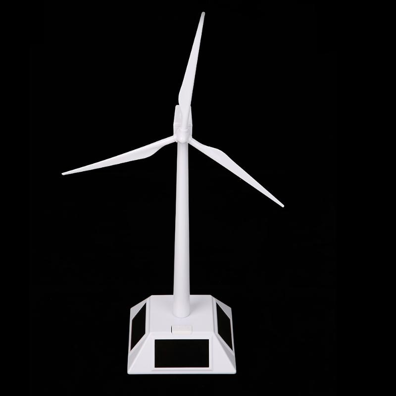Solar Powered Windmill Sunpower Solar Powered ABS Plastics Windmills Wind Turbine White for Kids Children Toys Gift Present
