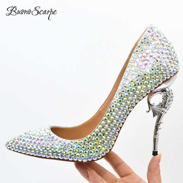 7a92db2e762 BuonoScarpe Women Bling Bling Shoes Glitter High Heels Strange Heel Big  Strass Royal Pumps Sexy Party Wedding Shoes CrystalPumps