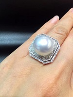 14 15MM Big Pearl Ring Fine Jewelry Natural Southsea Pearl Ring 18K Gold Diamond Genuine Pearl