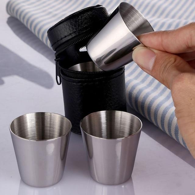 4 Adet/takım 30 ml Mini Viski Bardağı Paslanmaz Çelik Şarap Bira Viski Kupası Açık Seyahat Kolay Taşıma Mini Kupalar