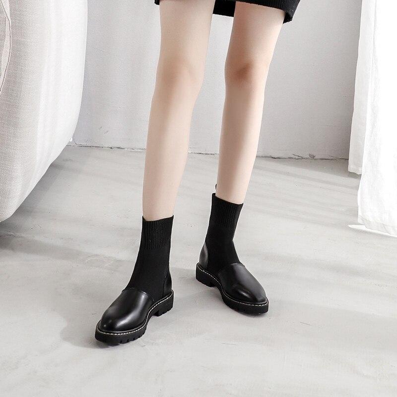 E Scarpe Piatto Stile Stivali Femminili Autunno Skinny Caviglia rpwqxr