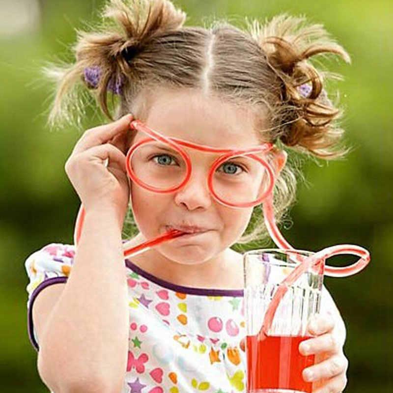 Funny Soft ดื่มฟางแว่นตา Novelty ของเล่นวันเกิดของขวัญเด็กผู้ใหญ่หลอด DIY อุปกรณ์เสริมแว่นตาฟางร้อน