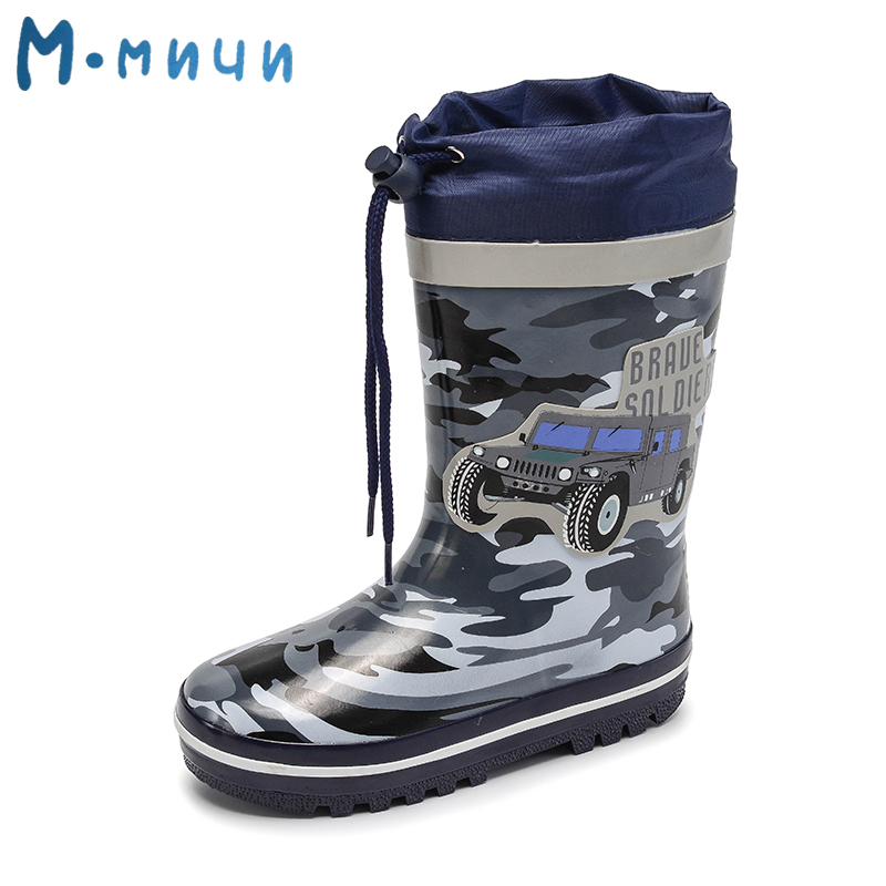 MMNUN Children Rain Boots 2018 New Rainning Warm Rainboots Boys Fashion Children's Rubber Shoes Toddler Kids Boots kelme 2016 new children sport running shoes football boots synthetic leather broken nail kids skid wearable shoes breathable 49