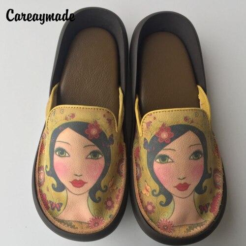 Careaymade-Tête couche de peau de vache pur à la main sandales femme creative personnalité totem rétro muffin fond épais pantoufles à semelles