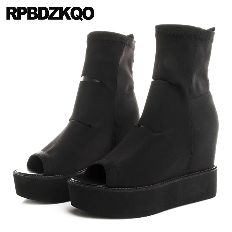 high heel black designer shoes women luxury 2018 slip on sandals ankle wedge boots peep toe brand short stud rivet platform все цены