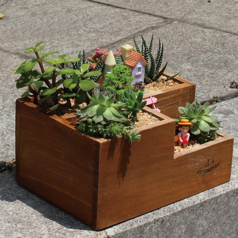 Garden Supplies Succulent plants Three Lattice Wood Flowerpot DIY Cactus Bonsai Flower Pot Trays Home Desktop Decoration