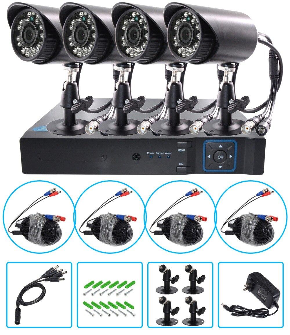 AHD 1080 P Résistant Aux Intempéries CCTV Caméras Kit IR Couleur CMOS Système de Sécurité À La Maison 4 pièces Balle Caméra Pour Système De Surveillance