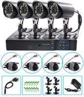 AHD 1080P Weatherproof CCTV Cameras Kit IR CUT Color CMOS Home Security System 4pcs Bullet Camera For Surveillance System