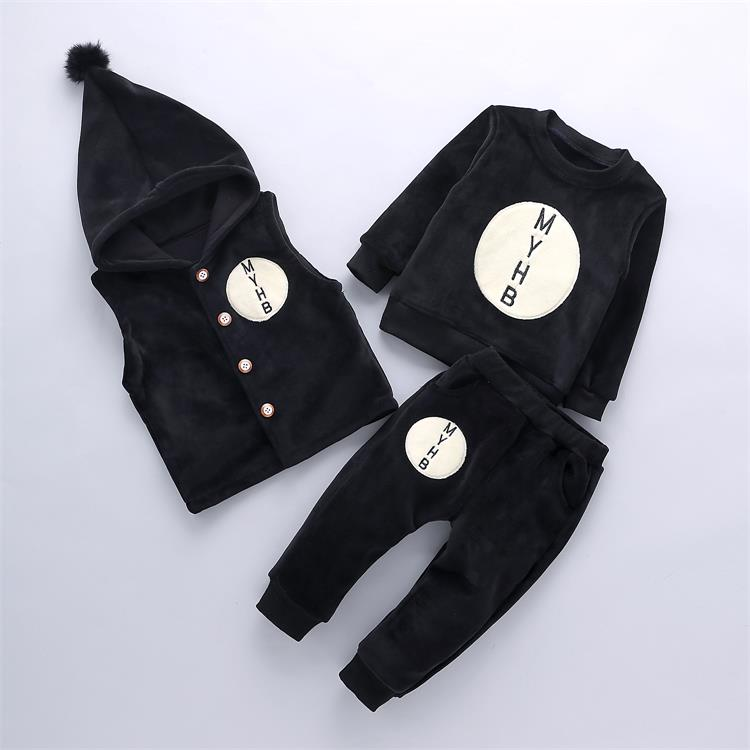 2017 Winter Baby Girls Boys Clothes Sets Children Down Cotton-padded Coat+vest+pants Kids Infant Warm velvet Suits 3 Pcs/1 Lot 2017 winter children cotton padded parkas clothes baby girls