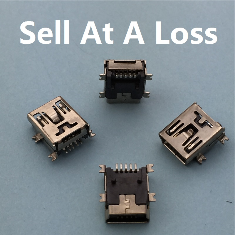 10pcs/lot Mini USB 5pin Female Socket G34 Connector 4foot for Tail Charging Mobile Phone Free Shipping image