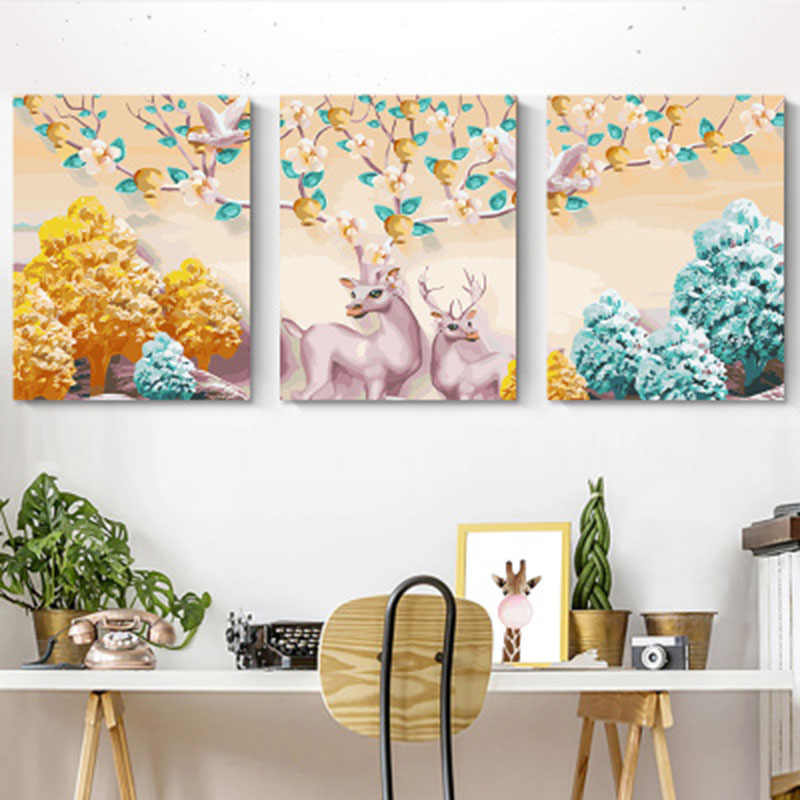 painting pictures by numbers Triptych Modular Coloring Picture Deer Abstract Paint Home Decor Wall Sticker Unfinished