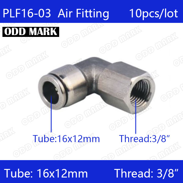 Free shipping 10pcs/lot 16mm to 3/8 PLF16-03,304 Stainless Steel Elbow Feale Connector free shipping 10pcs lot type 4mm to m6 female thread elbow pneumatic pu hose gas connector 90 degree plf 4 m6