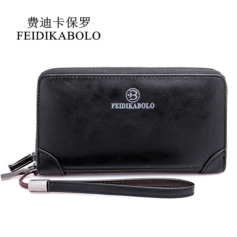 FEIDIKABOLO Double Zipper Clip Wallets Men Clutch Bags PU Men's Leather Wallet Long Male Purse Man Handy Bags Carteira Masculina стоимость