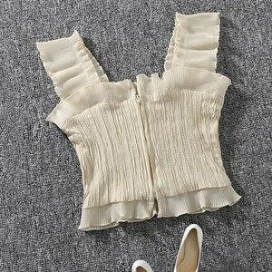 Image 3 - Shintimes 2020 novo verão outono bustier branco preto tanque superior feminino sexy bandagem sem mangas colheita superior zíper mulher roupas