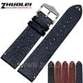 18mm 20mm 22mm correa de reloj pulsera de cuero genuino con hebilla de acero inoxidable correa de reloj accesorios hechos a mano 19 tipos colores