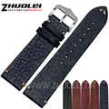 18mm 20mm 22mm genuine leather bracelet watchband with stainless steel clasp handmade watch strap accessories 19 kinds colors