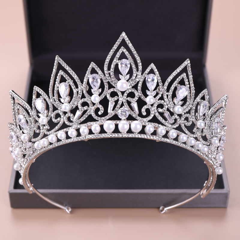 Silver Zircon Crowns Luxury Pearl Rhinestone Diadems Wedding Hair Jewelry For Women Bridal Queen Tiaras Crown Bride Accessories