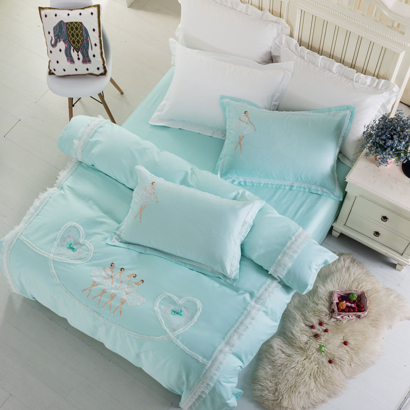 4pieces dancing girl bedlinens high quality egyptian cotton fabric queenking size duvet cover set - Queen Size Duvet Cover