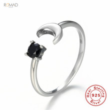 925 Sterling Rings For Women Silver Engagement Ring Moon Zircon Adjustable Open Ring Fine Jewelry Girl Gift ska brand monaco pearls ring women 925 sterling silver rings for women inlaid zircon moon trendy party fine jewelry a18603xpl