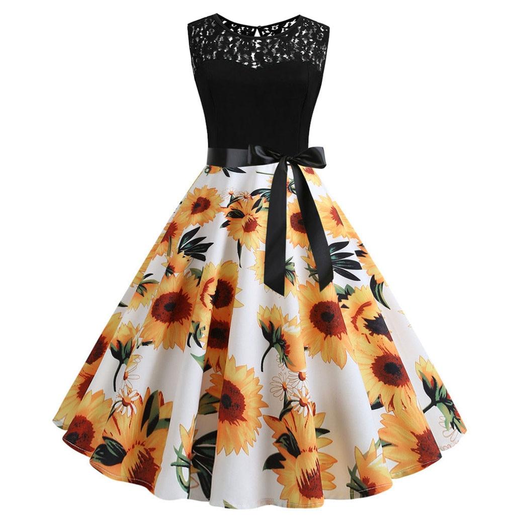 Women Vintage Sleeveless Lace Splice Print Evening Party Prom Knee-Length Dress Vestidos De Fiesta De Noche Zomerjurk Dames 2019
