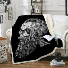 3D Skull Blanket Microfiber Sherpa Sofa Throw Gun bullet skull Printed black Gothic Bedding mantas para cama