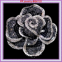 Luxury Silver Plated Big Black Crystal Rose Alloy Wholesale Brooch Free Shipping 60pcs Lot