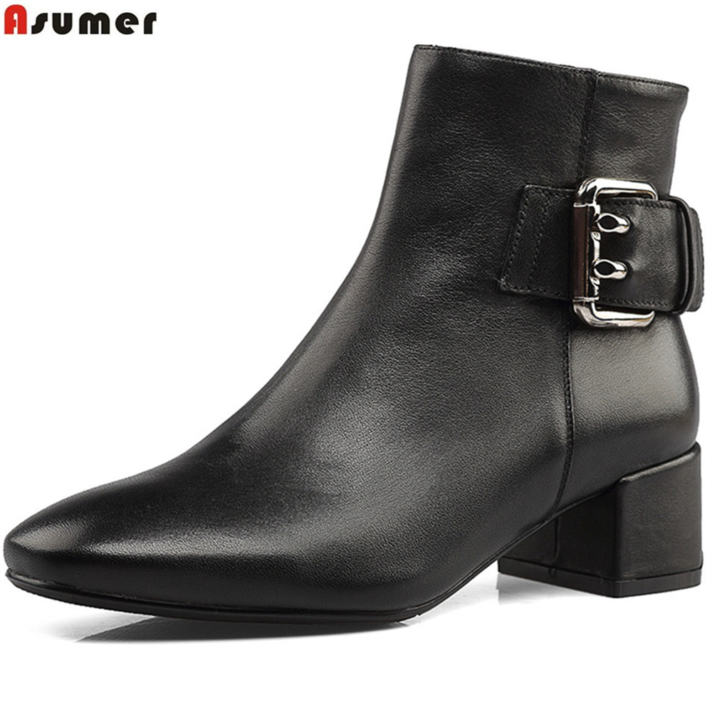 Asumer black fashion women boots square toe zipper genuine leather boots square heel cow leather ankle boots spring autumn shoes asumer black white fashion new women boots pointed toe genuine leather boots zipper cow leather ankle boots low heel shoes